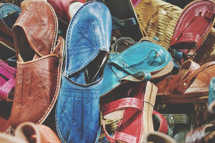 High angle view of shoes for sale