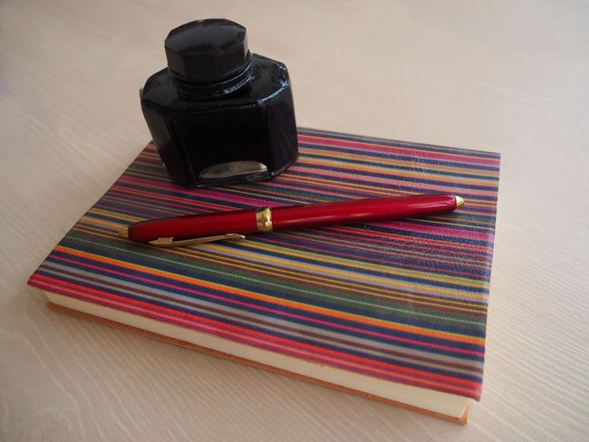Striped Knowledge Is Freedom Notebook Knowledge Is Power Retro Styled Write Your Own Story Time To Write Writing Old-fashioned EyeEmNewHere Education Writing Instrument Pen Black Ink Red Pen Red And Gold Time To Study Knowledge Neon Life Lines, Colors & Textures Notebook Cover