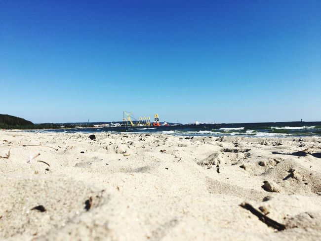 Beach Sand Clear Sky Blue Copy Space Sea Vacations Shore Tranquility Tranquil Scene Calm Scenics Rügen Water Flying Day Coastline Nature Tourism Surface Level