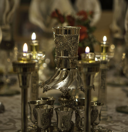 Candle Close-up Flame Focus On Foreground Illuminated Indoors  Night No People Shabbos Table