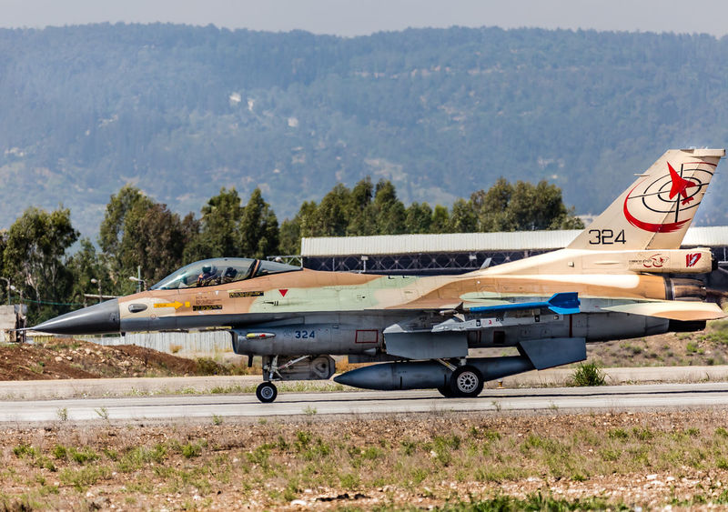 F-16C Air Force F-16 Fighting Falcon IAF Runway View Air Force Air Vehicle Airbase Aircraft Army Aviation Day Fighter Jet Flight Lockheed Martin Military Mode Of Transport Mountain Nature Outdoors Sky Taxiing Transportation Tree