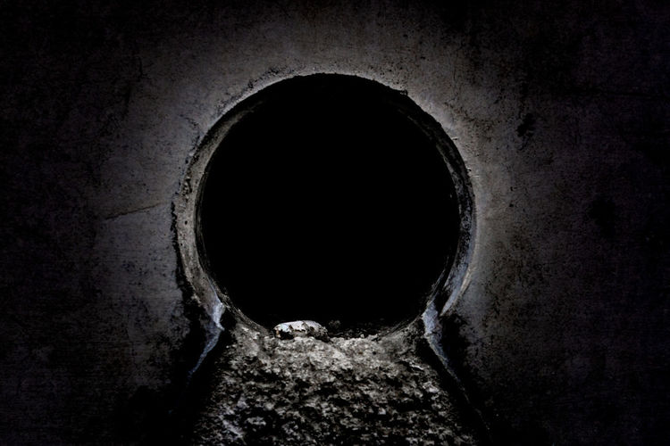 Close-up of hole in the dark