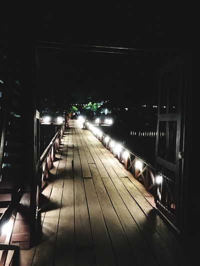 Wooden Bridge with light decollation Illuminated Night Architecture Transportation City Built Structure Lighting Equipment Outdoors Building Exterior The Way Forward Footpath Street Direction