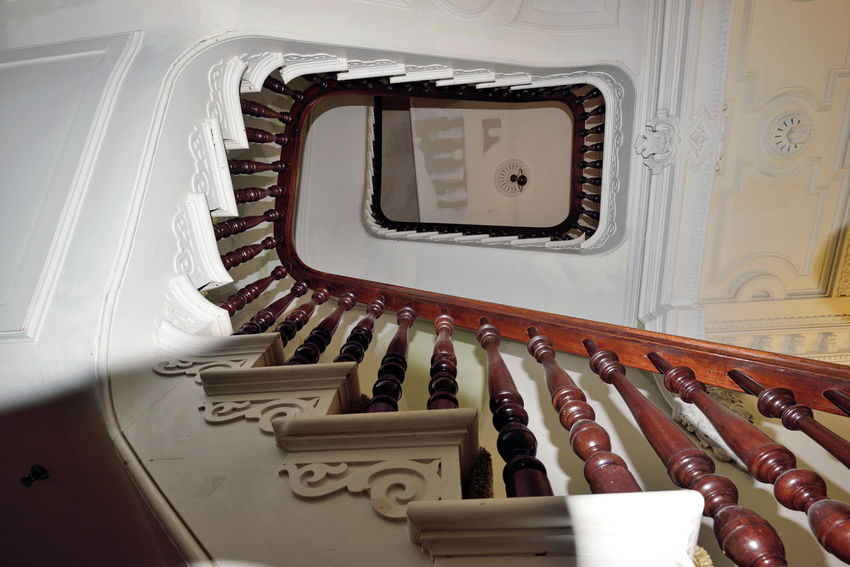 Stairway of Meek Mansion 1 Cherryland, Ca. Historic Mansion William Meek Built 1869 Mansion Interior Stairway Under Renovation  Best Of Stairways Handrail  Architecture Architecture_collection Architectural Detail Architecture : Victorian Style : Second Empire Italian Villa 3 Floors 7,902 Sq Ft. 23-27 Rooms 3rd Floor Cupola Low Angle View Pattern Pieces Stairways