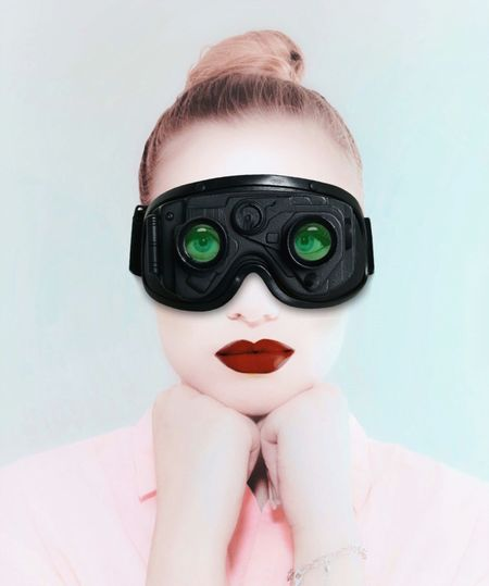- A FULLY EQUIPPED BABE - Check this out Women Who Inspire The Portraitist - 2018 EyeEm Awards Check This Out Portrait Of A Woman Portrait Visions Goggles Headshot Portrait One Person Women Looking At Camera Indoors  Adult Human Body Part Front View Close-up Representation Human Representation Young Adult Real People Unrecognizable Person Covering Disguise Obscured Face Visual Creativity The Creative - 2018 EyeEm Awards Humanity Meets Technology