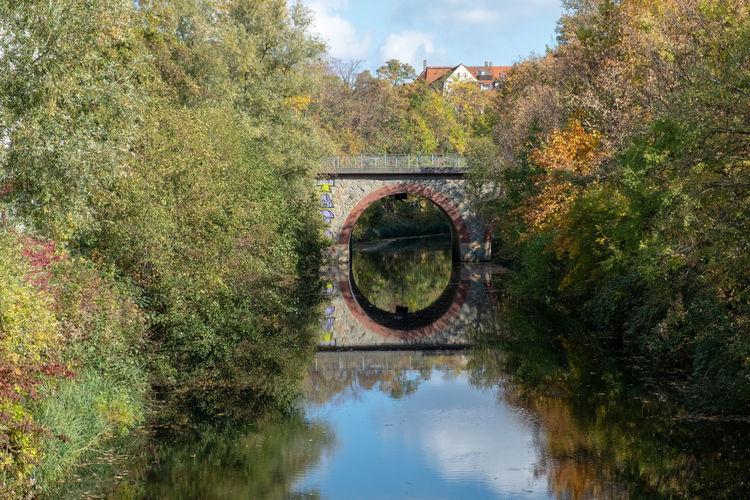 Arch bridge over lake