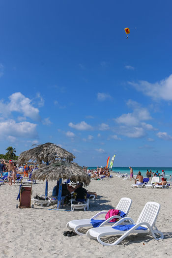 Activities on the beach, Cuba, Varadero Cuba Cuba. Varadero Varadero Activity Beach Chair Chaise Lounge Cloud - Sky Day Holiday Horizon Over Water Outdoors Resort Sand Sea Sky Skydiver Sunbed Umbrella Vacation Vacations Water