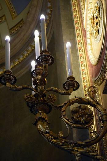 Budapest Candles Candlestick Cathedral Design Hungary Illuminated Ornate Religious Architecture St Stephens Basilica, Budapest