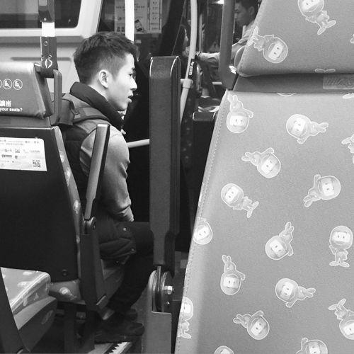 Boy Blackandwhite Bus