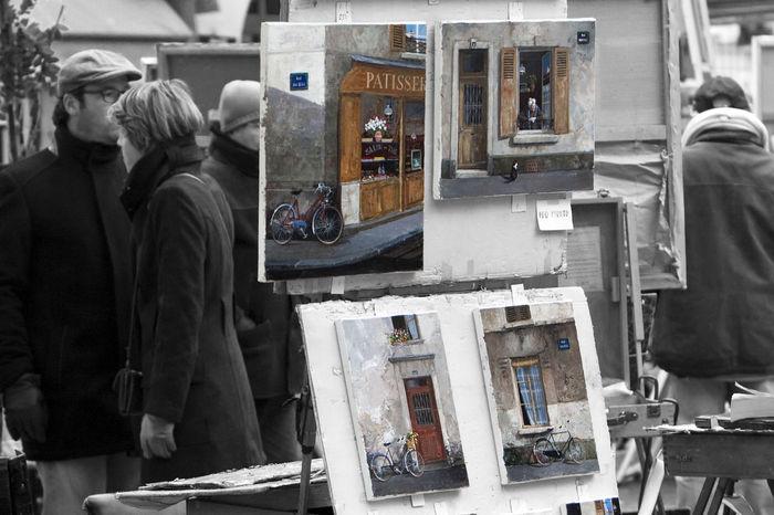 Art Artists City Life Composition Couple France Montmartre Paintings Paris Place Du Tertre Square Urban