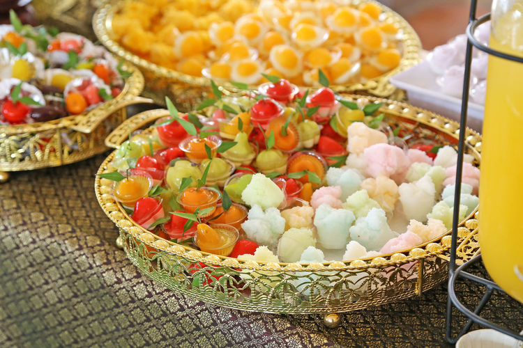 Food And Drink Food Freshness Basket Container Healthy Eating Choice Still Life No People Vegetable Variation Fruit Close-up Ready-to-eat High Angle View Focus On Foreground Indoors  Wellbeing Selective Focus Table Snack Sweetcorn Thai Desserts Thai Desserts (Khanom Wan Thai) Thai Food