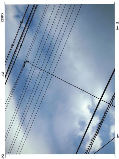 Cloud And Sky Power Lines Kyoto