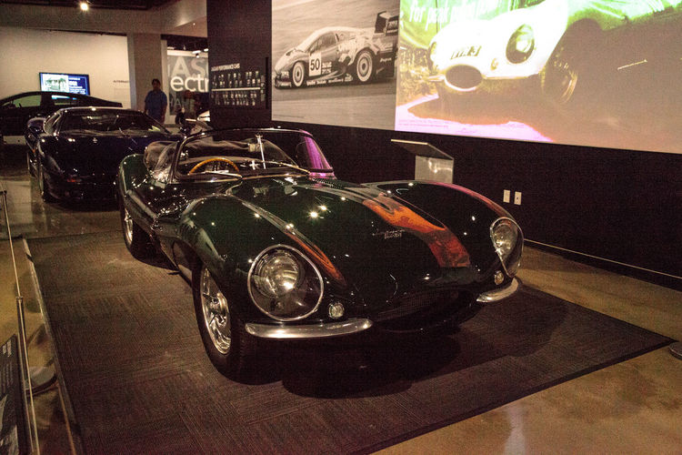 Los Angeles, CA, USA - July 23, 2017: One of only 16 built, this 1956 Jaguar XKSS was owned by Steve McQueen displayed at the Petersen Automotive Museum. Editorial only. 1956 Antique Car Automobile Classic Classic Car Fast Car JAGUAR Jaguar XKSS Petersen Automotive Museum Close-up Day Indoors  Luxury No People Old Car Sports Car Steve McQueen Technology