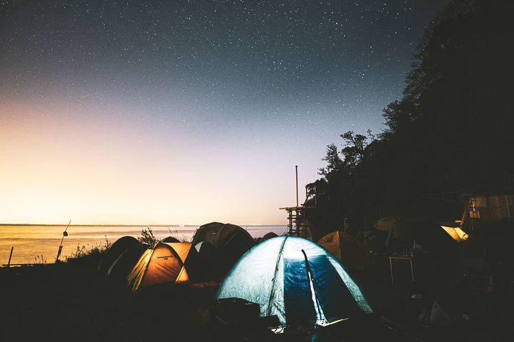 View of tent against sky at night