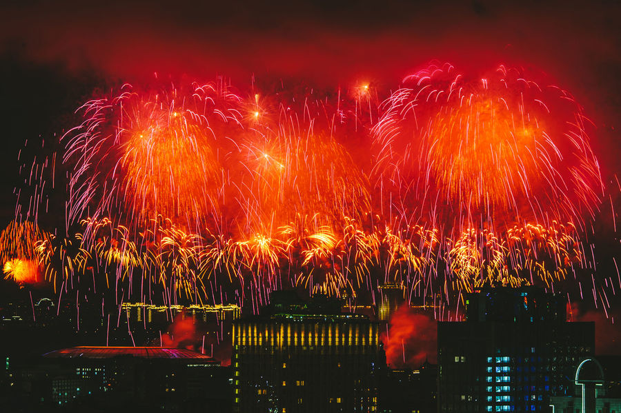 Fireworks Arts Culture And Entertainment Celebration City Cityscape Exploding Firework Display Illuminated Long Exposure Multi Colored Night No People Outdoors Sky Victory Day Russia