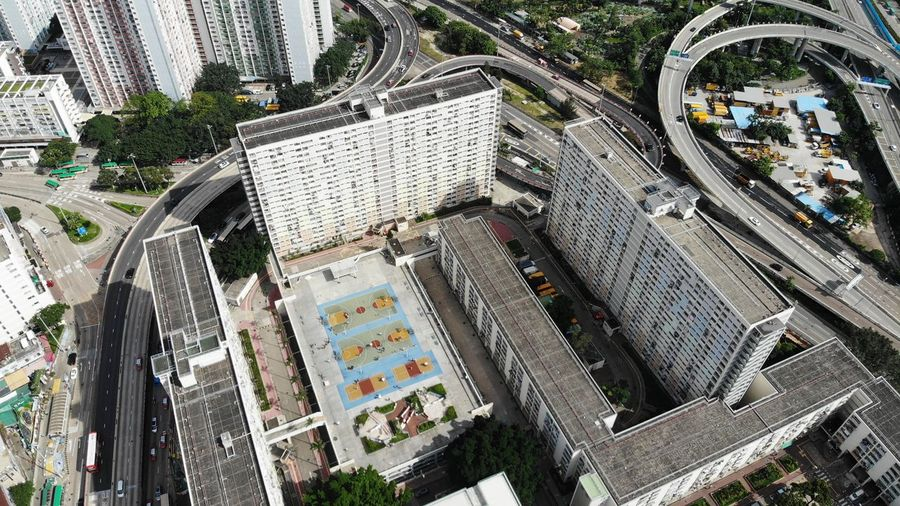rainbow choi hung public building Public Exterior Housing Development Housing Settlement Choi Hung House Estate Public Housing Estate Hong Kong Modern Skyscraper Office Building Exterior Day Building Cityscape High Angle View Built Structure Architecture Building Exterior City Dronephotography Drone