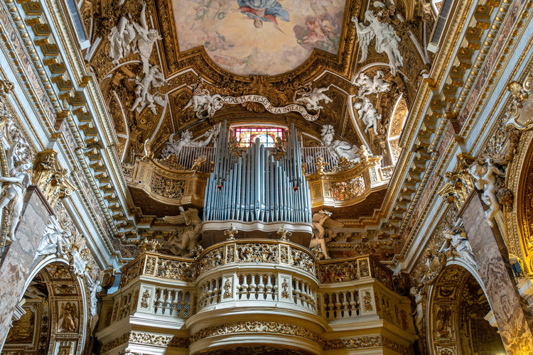 Built Structure Architecture Low Angle View Building Religion Building Exterior Place Of Worship Belief No People The Past Spirituality History Pipe Organ Travel Destinations Music Ornate Architectural Column Ceiling Mural