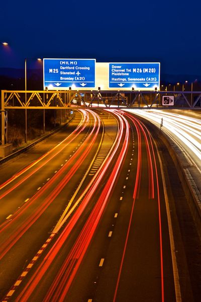 Blurred Motion Highway Illuminated Light Trail Long Exposure M25 M25 Junction 5 Motion Night Outdoors Road Sign Speed Traffic Transportation
