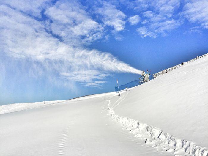 Snow cannon on slope Groomed Ski Run Piste Prepared Pistes Ski Ski Area Ski Region Ski Run Skiing Slope Snow Cannon Snow Gun Winter Wintertime
