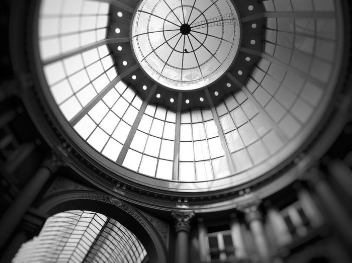 Den Haag Passage Den Haag Den Haag, Netherlands Black & White Den Haag Street Architecture Built Structure Indoors  Low Angle View Dome No People Circle Geometric Shape Architectural Feature Glass - Material History Cupola
