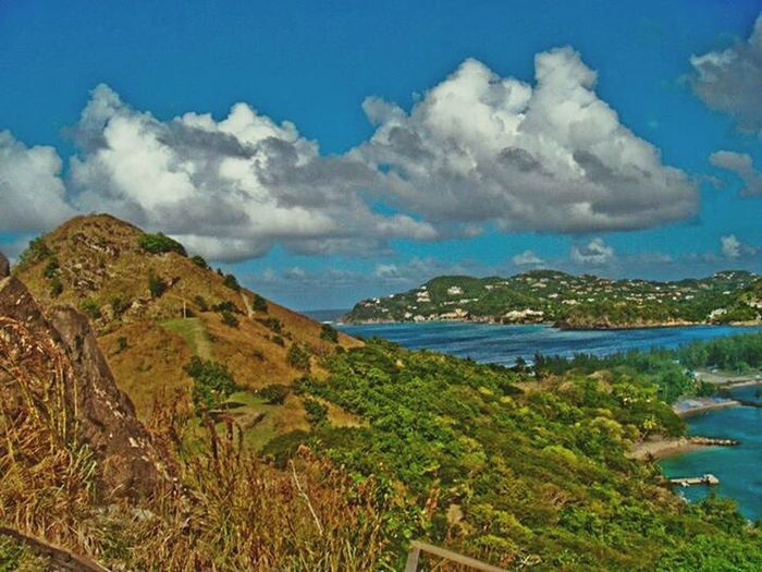 Viewpoint in Pigeon Island Caribbean Saint Lucia 758 Outdoors Sky And Clouds Caribbean Life Beach Photography Blue Landscape Beautiful HDR Editing Freshness Close-up Rural Scene Lost In The Landscape