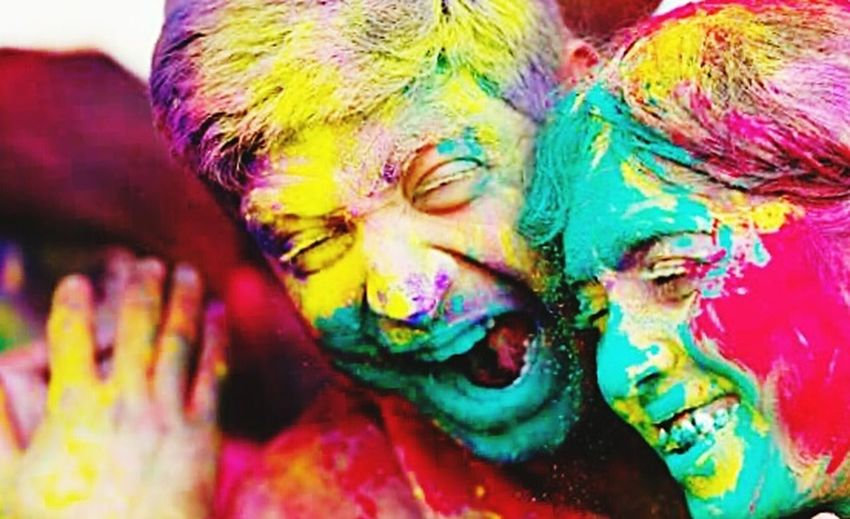 HAPPYNES Holi Celebration Multi Colored Traditional Festival Cultures Fun Happiness Face Powder Joy Adult Vibrant Color Togetherness Party - Social Event Powder Paint Cheerful Talcum Powder Body Paint Holiday - Event Religion People