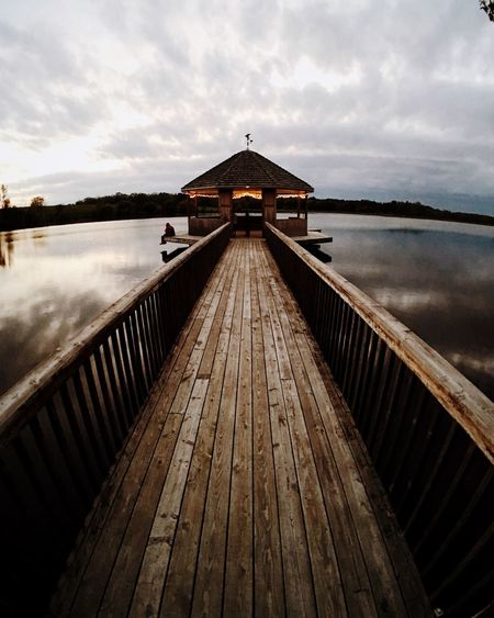 Instagram.com/andrewheartsbacon Built Structure Lake Sky Architecture Dusk Tranquility The Way Forward Tranquil Scene Railing Pier Cloud Cloud - Sky Scenics Diminishing Perspective Outdoors Calm Standing Water Sea Cloudy This Week On Eyeem