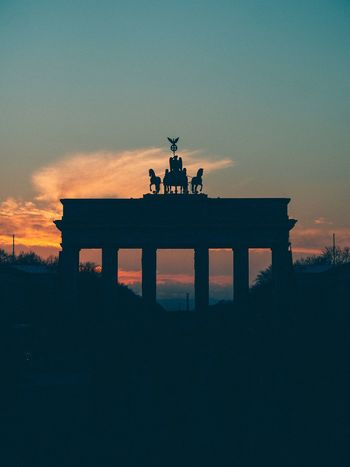 Berlin Brandenburger Tor Sunset Silhouette Architecture Built Structure History Sky Statue Travel Destinations City Gate Architectural Column Day