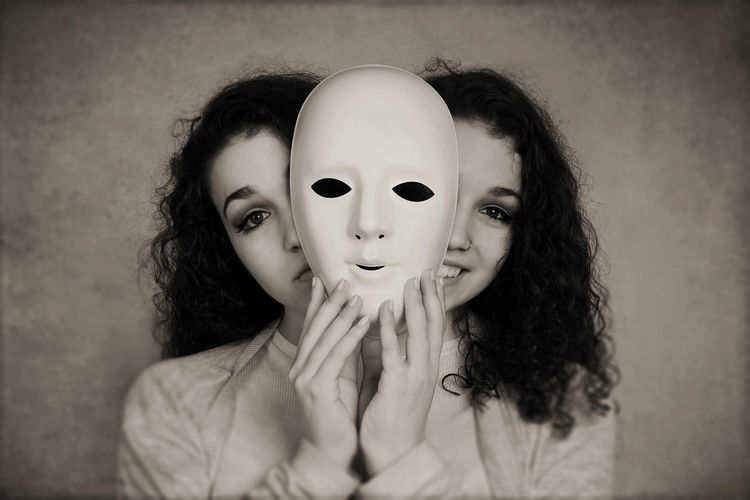 Multiple Images Of Young Woman Holding Mask