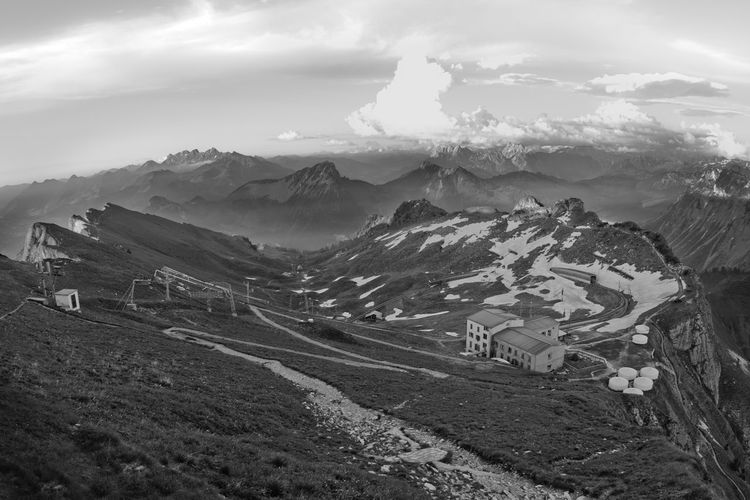 Canon 40D Black And White Chalet Epic Landscape Epic Scenery High Angle View Landscape Lausanne Lausanne (CH) Monochrome Mountain Mountain Range Mountain Views Scenics Ski Lift Swiss Alps Swiss Landscape Swiss Mountains Switzerland Switzerlandpictures
