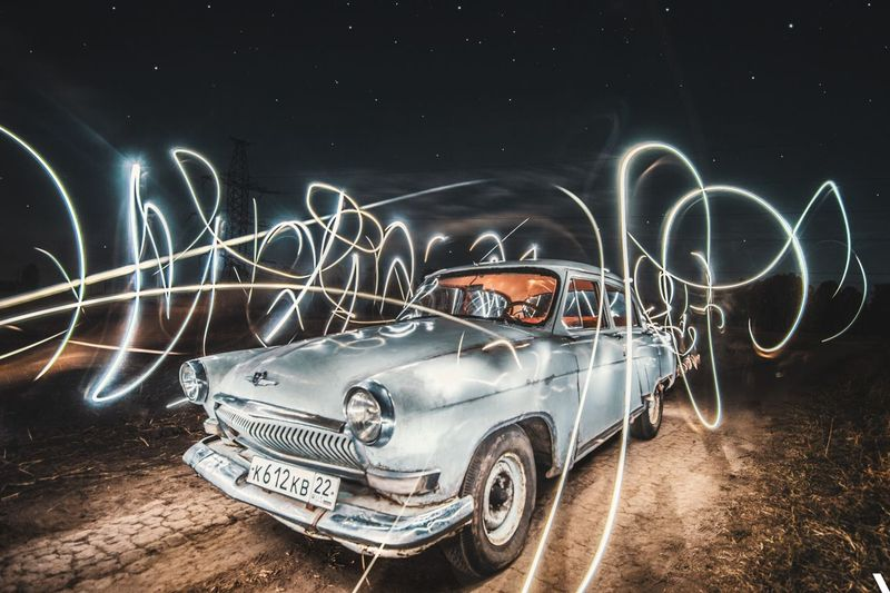 Russian Car Long Hair Long Exposure Moto Auto Illuminated Night Mode Of Transportation Transportation Car Motor Vehicle Creativity Long Exposure Art And Craft Land Vehicle Light Trail Motion Glowing Light Painting Speed Blurred Motion No People Outdoors Road Light - Natural Phenomenon