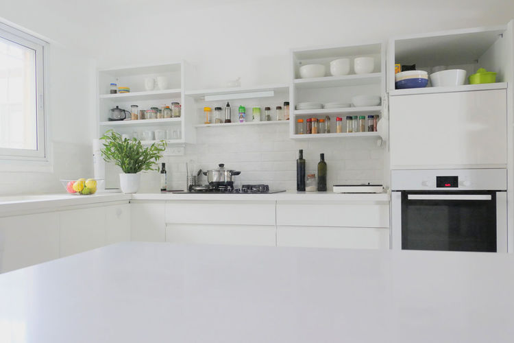 White image of kitchen at home