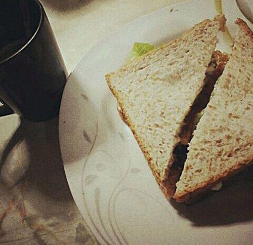 Breakfast Ready-to-eat Homemade Bread Sandwich Coffee Time Alone