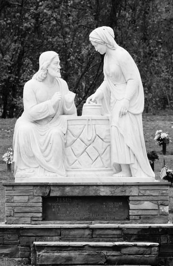 Cemetery Statue Autumn Couple Couple - Relationship Day Figures Male And Female Man And Woman No People Outdoors Sculpture Statue Statues And Monuments Stone Stone - Object Tree White