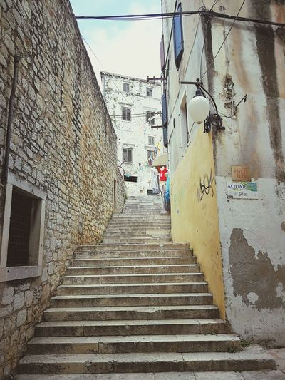 Walking through Šibenik Croatia Sibenik Alley Stairs Stepa Steps Steps And Staircases Staircase Sky Architecture Building Exterior Built Structure