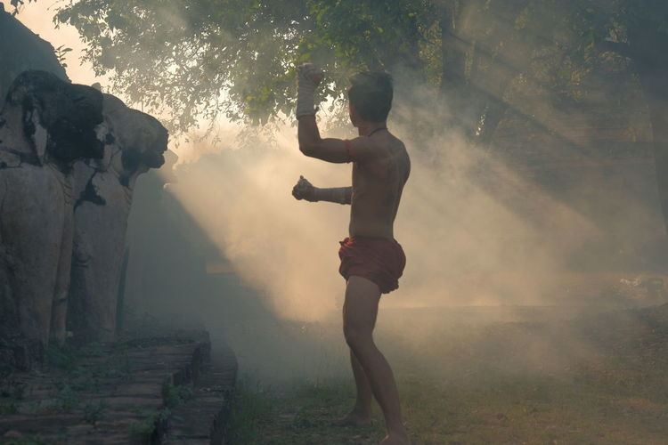 Martial arts of muay thai or thai boxing at thailand, muay thai at ayutthaya thailand