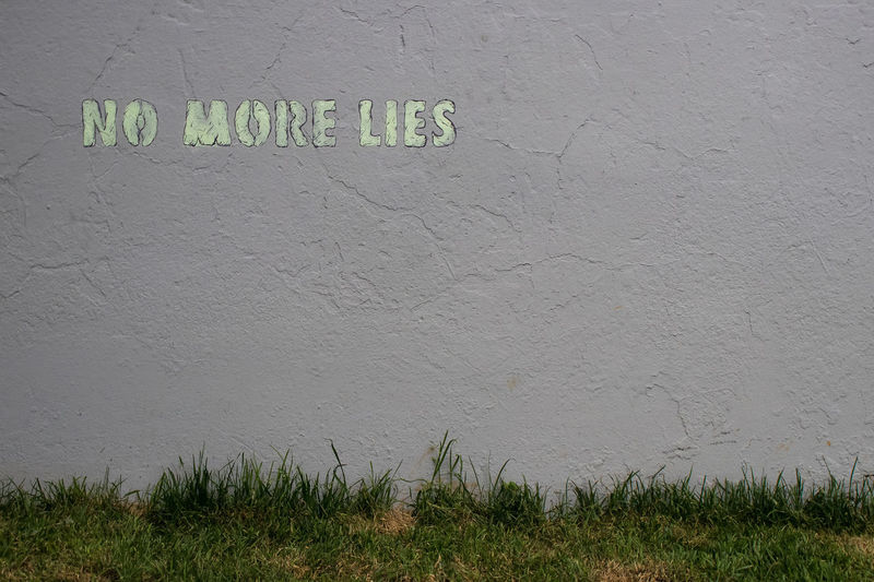 Grass Text Textured  Wall Building Exterior Close-up Day No More Lies No People Outdoors Text