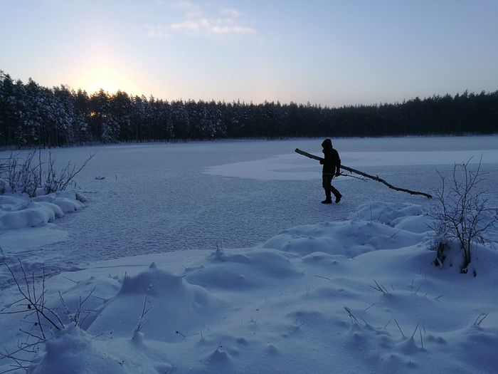 Winter One Person One Man Only Snow Cold Temperature Silhouette Freedom Outdoors Frozen Tree Winter Sport Nature Skill  Adventure Cold Camping Wilderness Landscape Burried In Snow