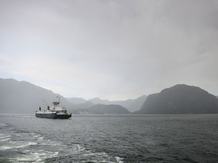 Ferry In Sea Against Sky