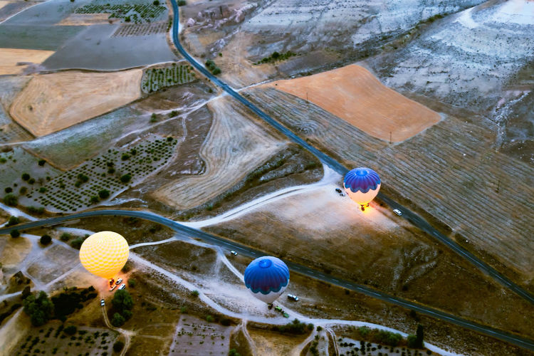 Hot Air Balloon Ride Balloon Rides Aerial View Beauty In Nature Cappadocia Hot Air Ballons Cappadocia/Turkey Day Dramatic Landscape Elevated View Geology High Angle View Hotairballoons Landscape Mountain Nature Non-urban Scene Physical Geography Scenics Sunrise Tourism Tourist Attraction  Tourist Destination Tourists Tranquil Scene Tranquility Vacations