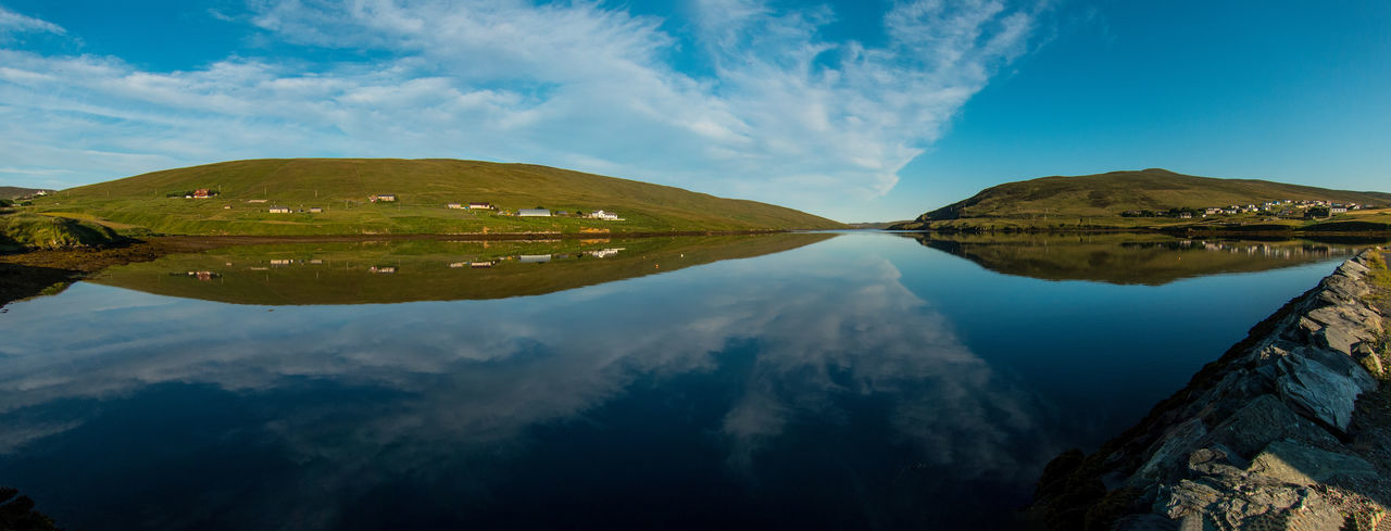Looking down the loch from Voe at 6:30am Early Morning Landscape Nature Outdoors Panorama Reflection Scotland Shetland Sky Tranquility Voe Voe Shetland