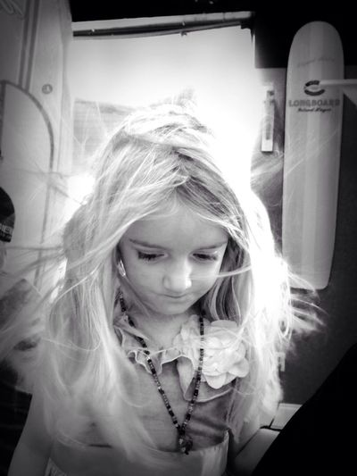 B&W Portrait my OLIVIA - 4 year old granddaughter Little Girl With Flowing Hair 4 year old girl with flowing hair