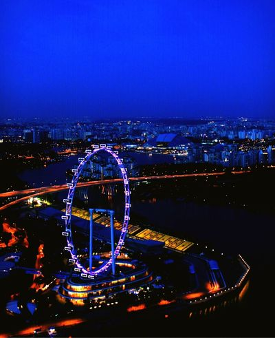 View from the Marina Bay Sands Skypark. Singapore National Stadium Singaporegrandprix Singaporeview Night View Travel Travel Photography Lioncity Sightseeing