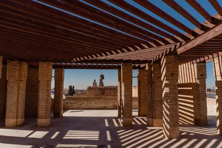 Marrakech Marrakesh Morocco Travel Destinations Tourist Attraction  Architecture Built Structure Sunlight Nature Architectural Column Building Ceiling Roof Pattern Geometric Shapes Wood - Material Sky Indoors  Shadow Day