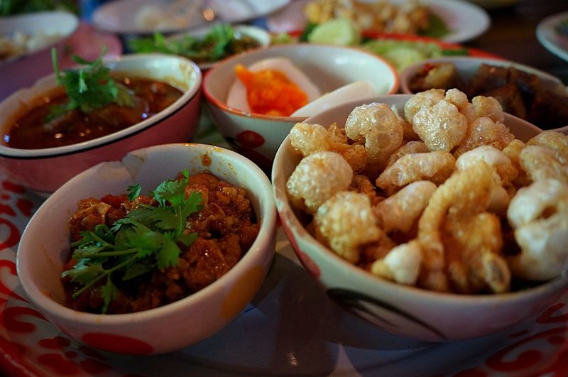 Close-up of food in bowls on table
