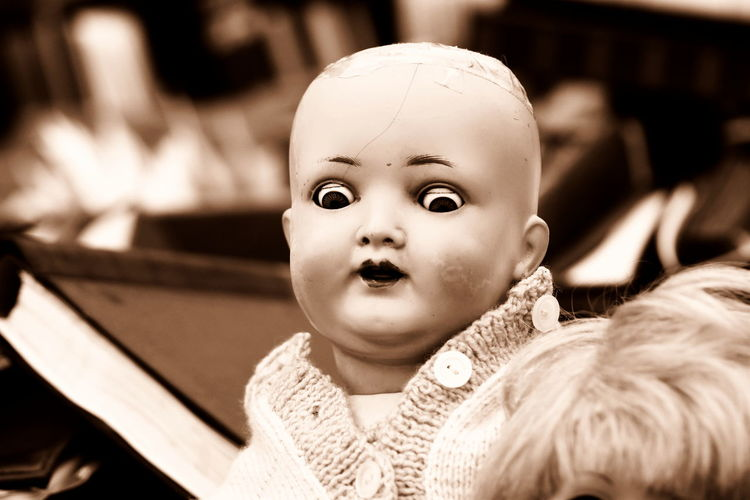 Close-up portrait of cute baby toy