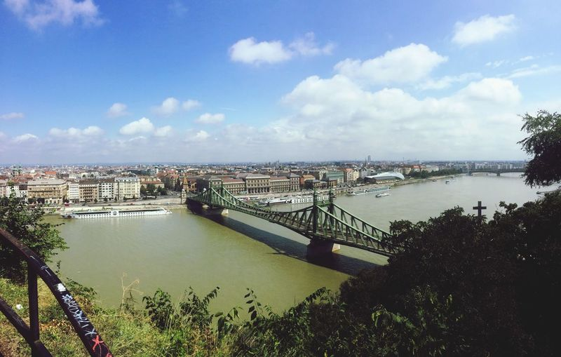 High angle view of liberty bridge over danube river against sky in city