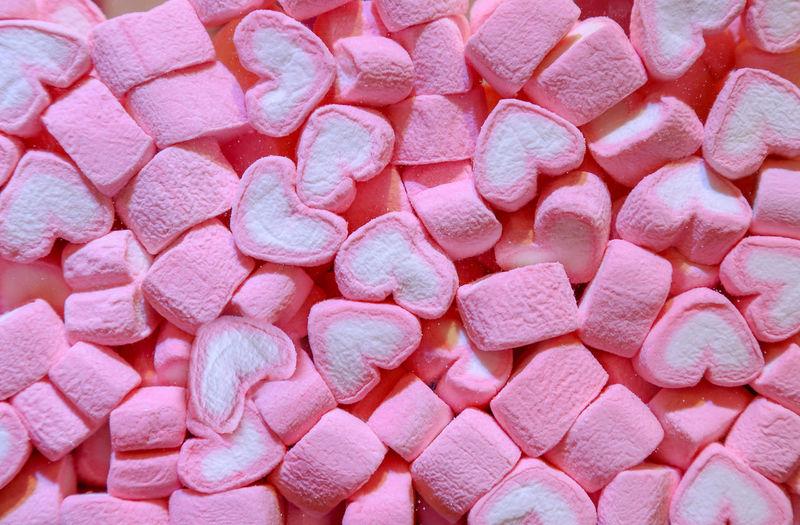 Full frame shot of heart shape marshmallows