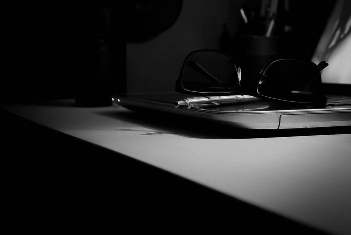 Study Glasses Computer Laptop Pen Blackandwhite Contrast Shades Of Grey