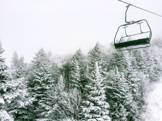 Snow Sports Skislope Snow Cold Temperature Ski Lift Outdoors Tree Vermont White Color Woods